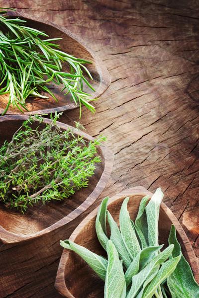 Fraîches herbes aromatique vieux bois romarin Photo stock © mythja