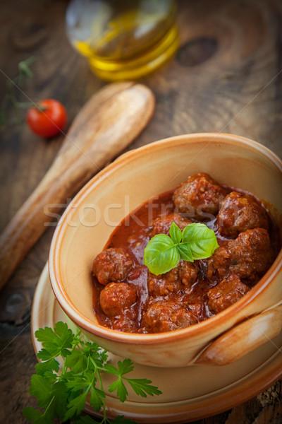 Olasz főzés hús golyók bazsalikom paradicsomok Stock fotó © mythja