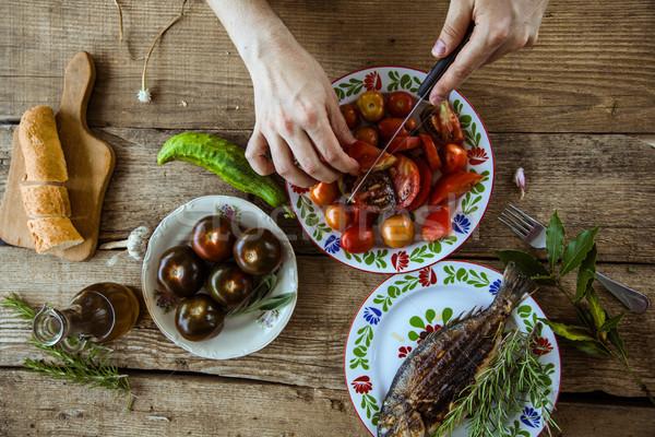 Stockfoto: Salade · tabel · vers · eigengemaakt · voedsel · gezonde · voeding