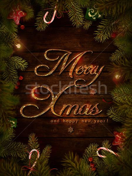 Foto stock: Navidad · diseno · navidad · corona · alegre · frontera