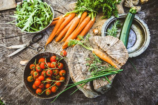 Stockfoto: Groenten · hout · vers · organisch · voedsel · gezonde · voeding