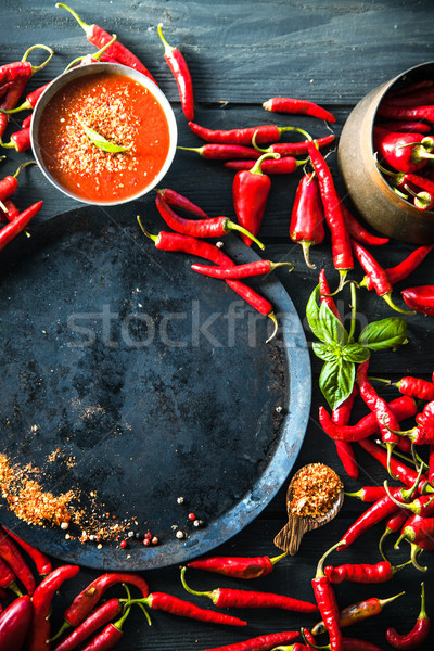 Fresh Red Chili Pepper. Spices on wood Stock photo © mythja