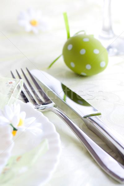 Primavera tabela restaurante menu páscoa flores Foto stock © mythja