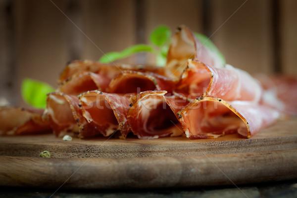 сушат свинина салями ветчиной травы продовольствие Сток-фото © mythja