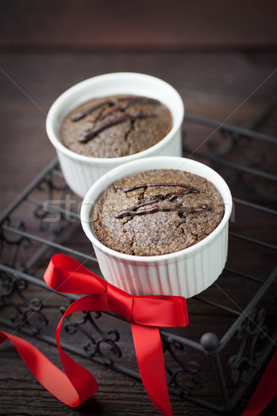 Chocolate bolo de chocolate vermelho comida escuro café da manhã Foto stock © mythja