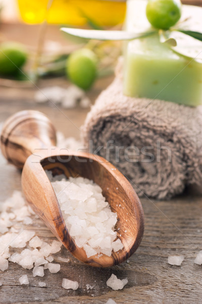 Stock photo: Natural spa setting with olive products
