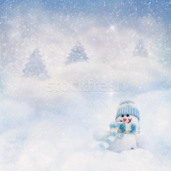 Pupazzo di neve inverno giocattolo bokeh ghiaccio segno Foto d'archivio © mythja