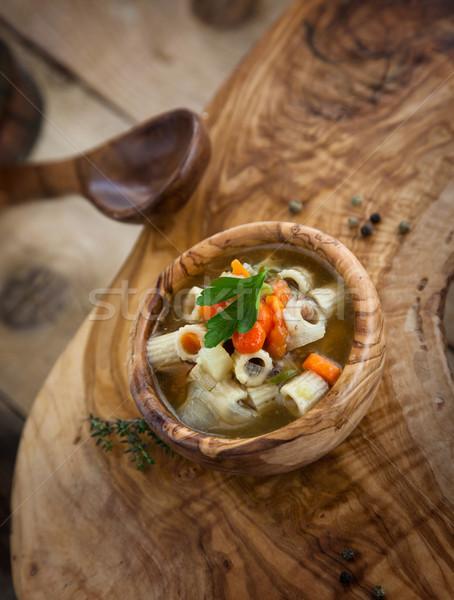 Zupa jarzynowa żywności tle restauracji zielone tablicy Zdjęcia stock © mythja