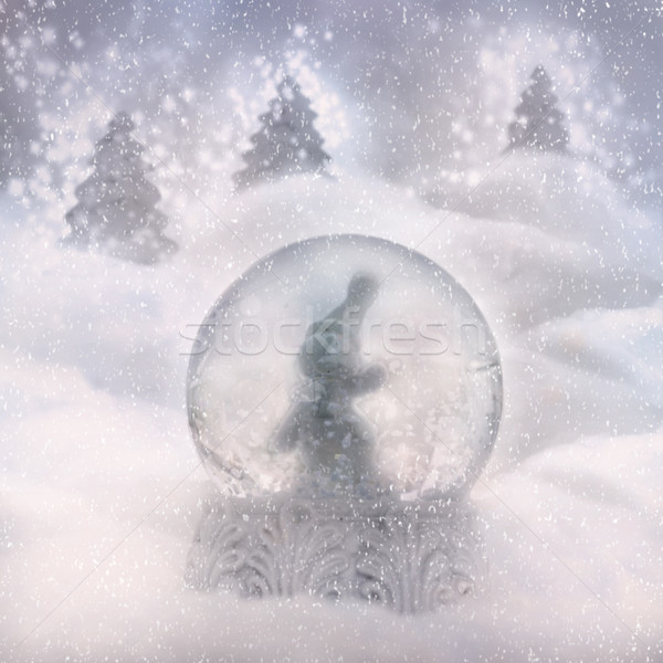 Snow globe with snowman Stock photo © mythja