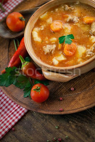 Ternera estofado delicioso sopa carne hortalizas Foto stock © mythja