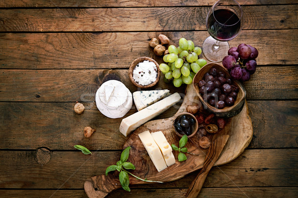 Stockfoto: Kaas · variëteit · voedsel · vers · ingrediënten · hout