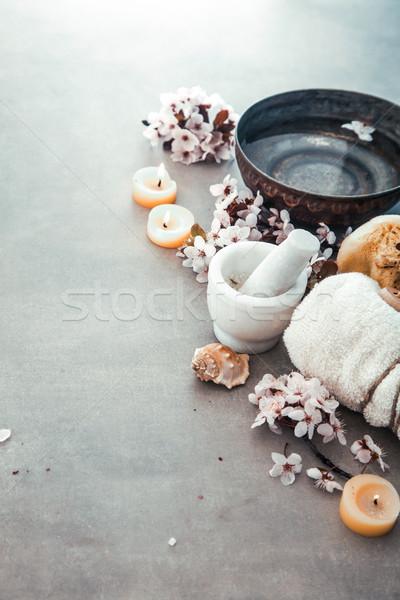 Spa doğal kozmetik ürünleri sağlıklı yaşam kadın Stok fotoğraf © mythja