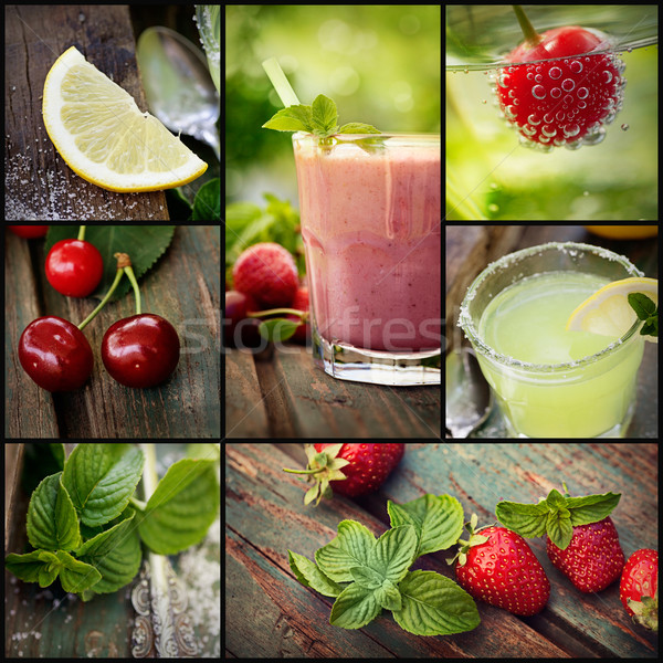 Fruit drinks collage Stock photo © mythja
