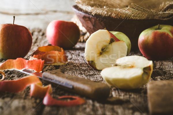 Stock fotó: Hámozott · alma · asztal · bioélelmiszer · fa · természet