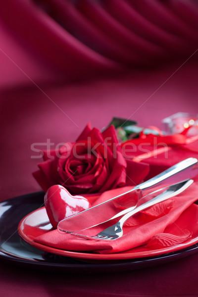 Valentine day romantic table setting Stock photo © mythja
