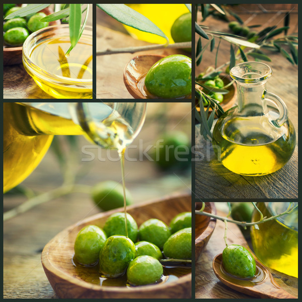 Frescos aceitunas collage de oliva cosecha cinco Foto stock © mythja