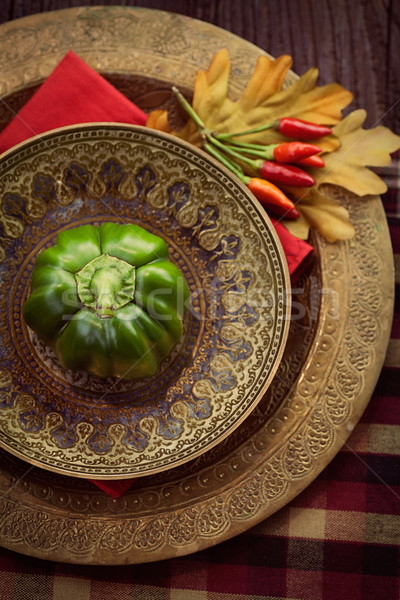 Ristorante autunno luogo tavola lastre Foto d'archivio © mythja