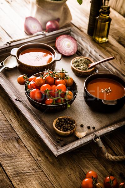 Tomato soup on wood Stock photo © mythja