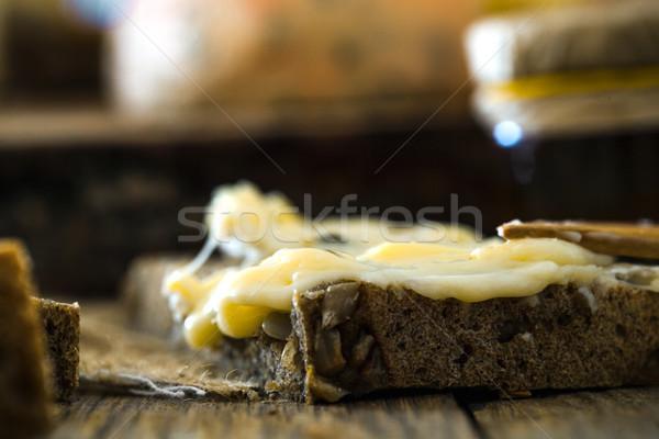 Kaas hout kruiden voedsel vruchten achtergrond Stockfoto © mythja