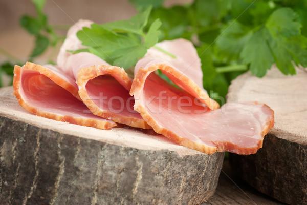 Fraîches jambon porc garnir bois Pâques Photo stock © mythja