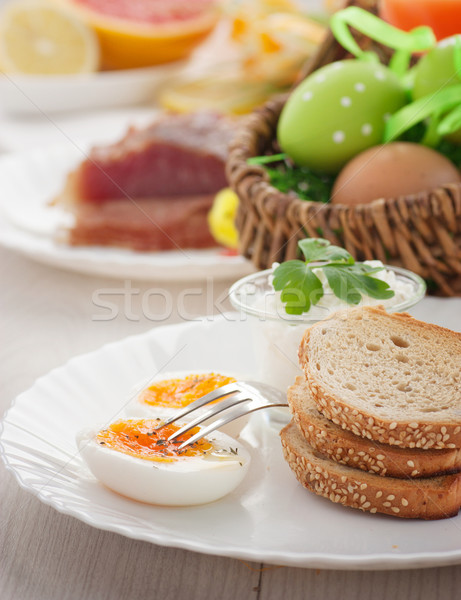 Traditional Easter breakfast Stock photo © mythja