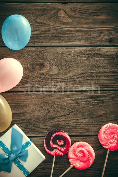 Birthday background on wood Stock photo © mythja