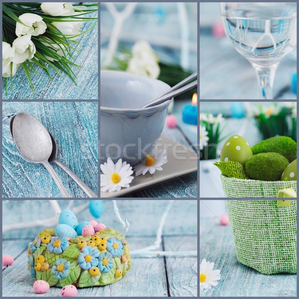 Stock fotó: Húsvét · kollázs · ünnep · asztal · színes · tojások