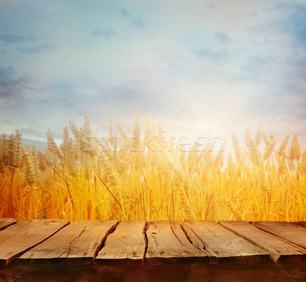 ストックフォト: 麦畑 · 夏 · 表 · 木材 · 空っぽ