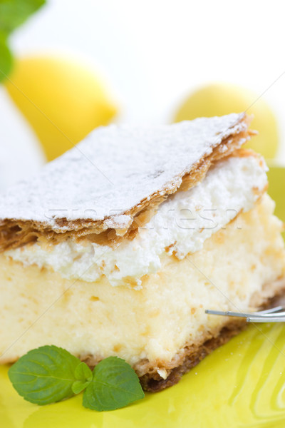 vanilla and custard cream cake dessert Stock photo © mythja