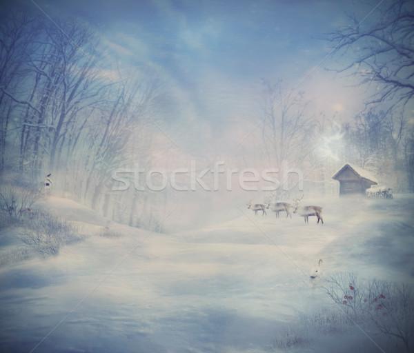 Stock photo: Winter design - Reindeer forest