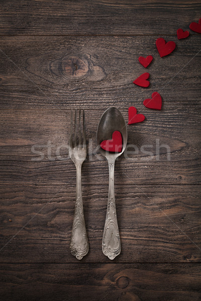 Dîner restaurant saint valentin table rustique Photo stock © mythja