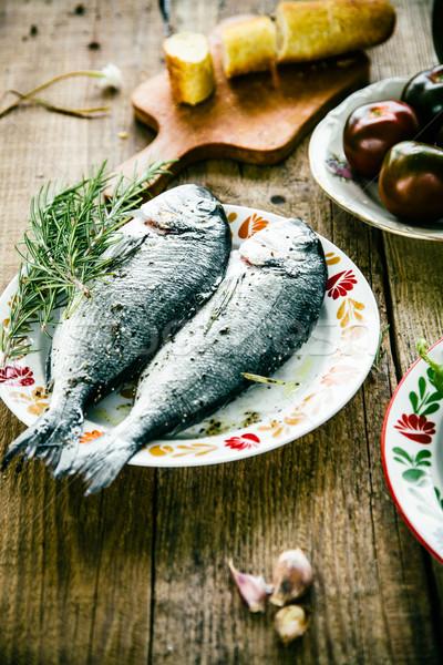 Fisch Gemüse gesunde Ernährung Vorbereitung Meeresfrüchte Holz Stock foto © mythja