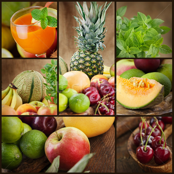 Fruits frais jus collage alimentaire pommes Photo stock © mythja
