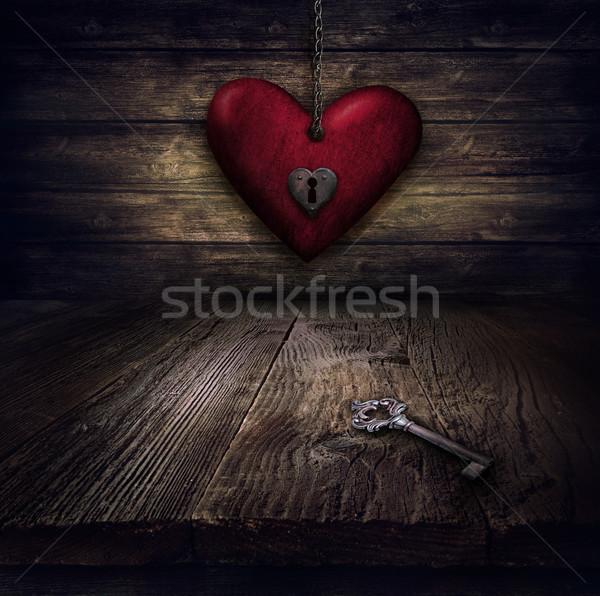 Walentynki projektu serca łańcuchy zablokowany miłości Zdjęcia stock © mythja