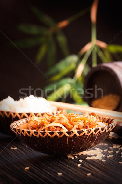 Kínai étel tojás tészta tyúk zöldségek párolt Stock fotó © mythja