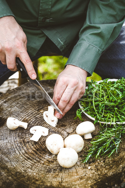 Bois Cook champignons bord Photo stock © mythja