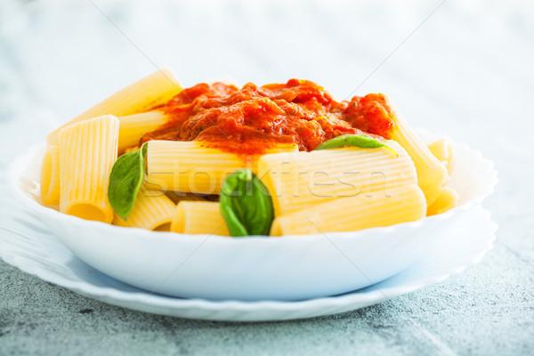 Makarna domates sosu fesleğen çatal İtalyan gıda akdeniz mutfağı Stok fotoğraf © mythja