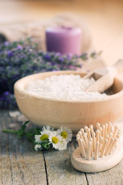 Spa lawendy ręcznik naturalnych mydło kwiat Zdjęcia stock © mythja