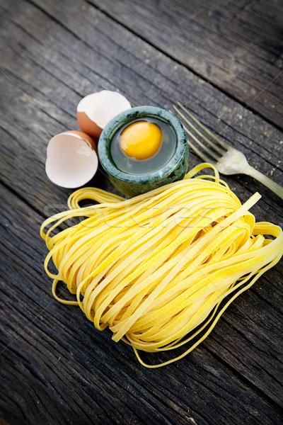Сток-фото: свежие · пасты · приготовления · яйцо · домашний · древесины