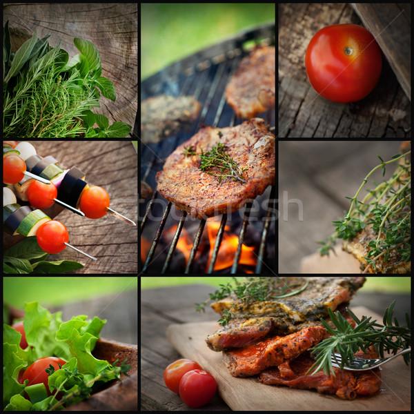 バーベキュー バーベキュー コラージュ レストラン 食品 新鮮な ストックフォト © mythja