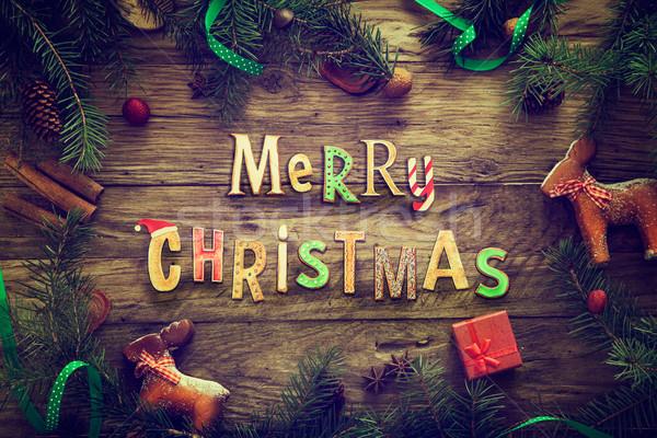 Foto stock: Navidad · corona · tarjeta · espacio · de · la · copia