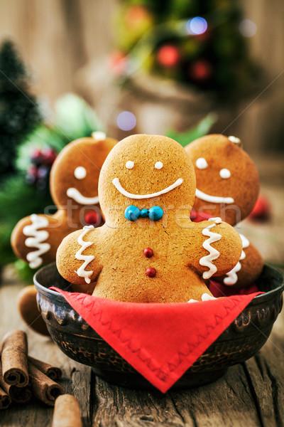 Gingerbread man table cookies Noël noël Photo stock © mythja