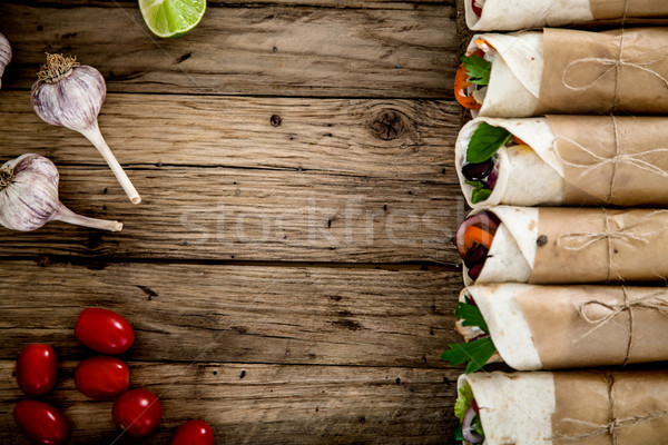 Tortilla wraps with vegetables Stock photo © mythja