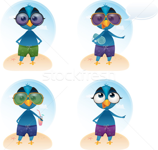 Vector Tweety summer holiday mascot Stock photo © mythja