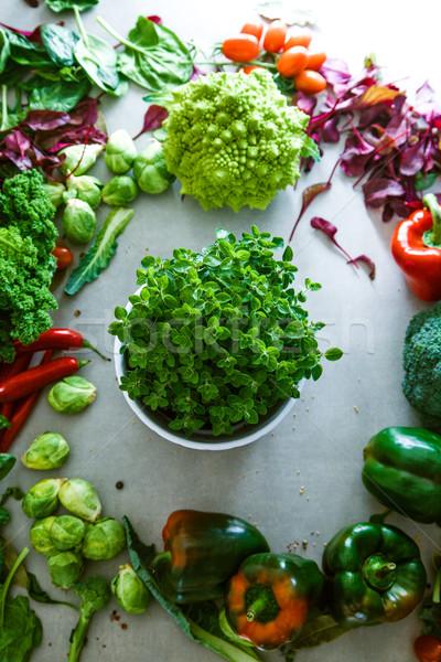 свежие овощи кадр продовольствие макет овощей разнообразие Сток-фото © mythja