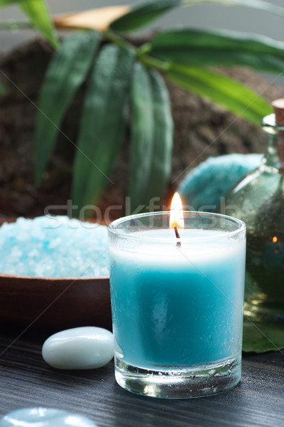 Spa Kerzen Wellness Handtuch blau Stock foto © mythja