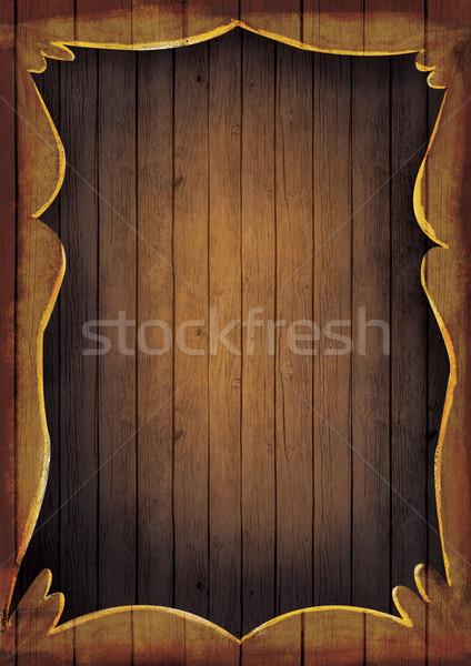Houten frame illustratie artistiek hand geschilderd houten Stockfoto © mythja