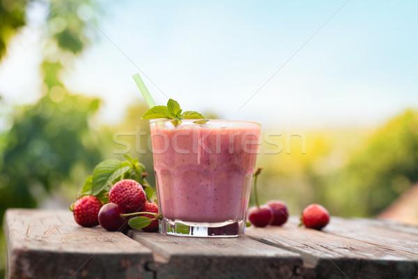 Stock fotó: Eper · gyümölcs · ital · egészséges · bioélelmiszer · smoothie