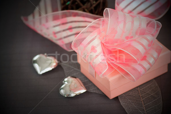 Restaurant series. Valentines day dinner with table setting in pink and gray and holiday elegant hea Stock photo © mythja