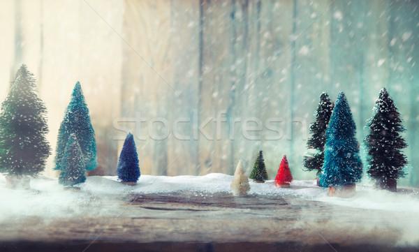 Christmas trees on wood Stock photo © mythja